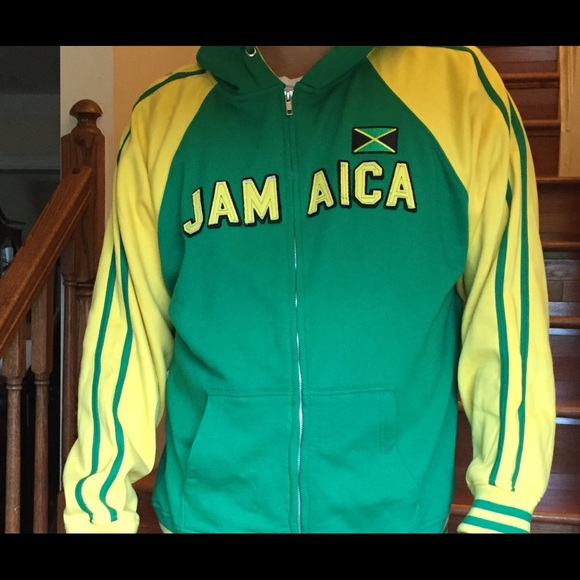 Authentic Jamaican Long Sleeved Reggae Zip-Up Jacket Unisex Black, Green and Yellow